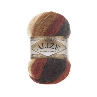 Alize Angora gold Batik 2626 Белый, рыжий, коричневый