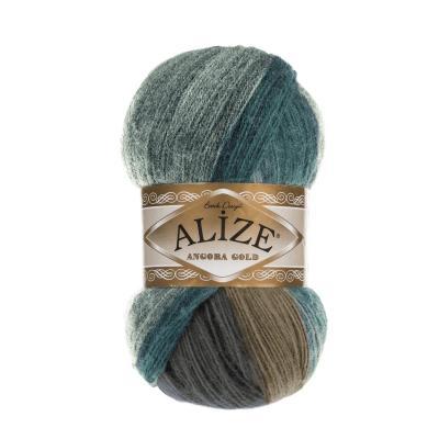 Alize Angora gold Batik 6920 Зеленый, бежевый, коричневый