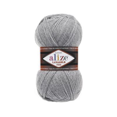 Alize Lanagold fine 21 Grey Melange (серый меланж)